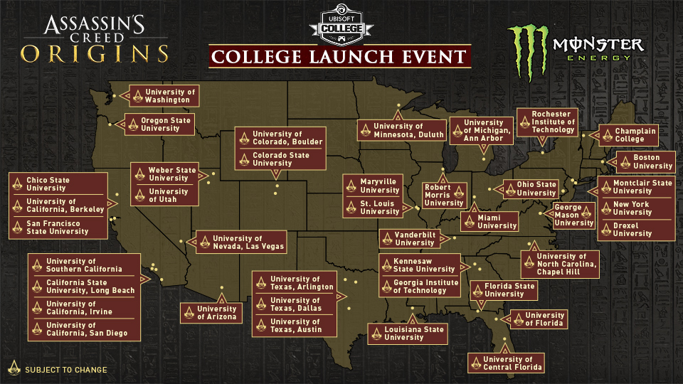 Assassin's Creed Origins Launch Events Planned at Colleges ...